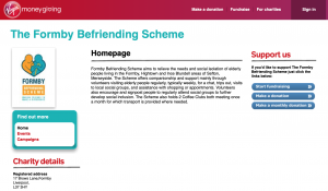 Formby Befriending Scheme Donate page on Virgin Money Giving